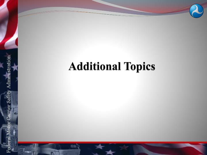Additional Topics