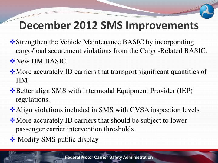 December 2012 SMS Improvements