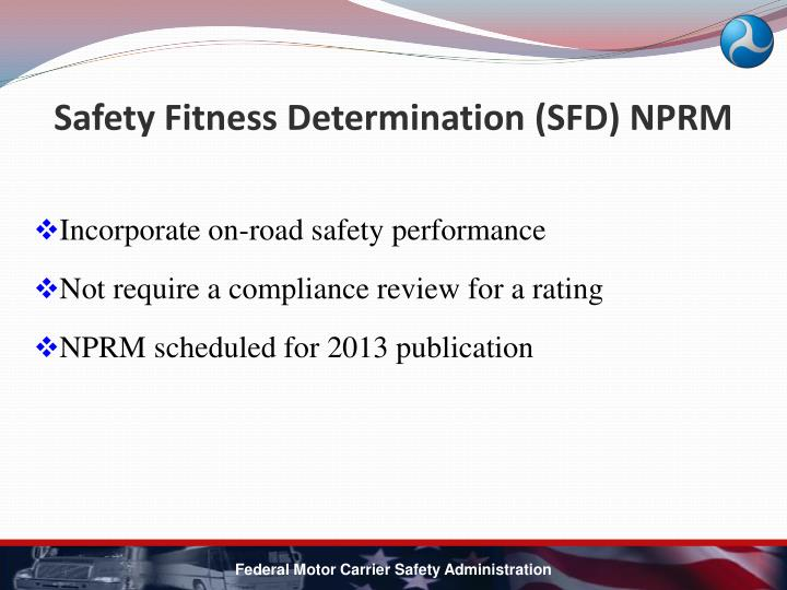 Safety Fitness Determination (SFD) NPRM