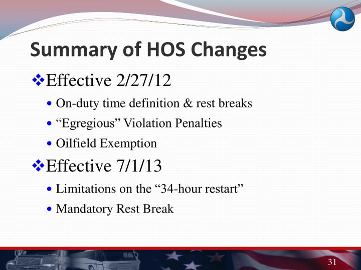Summary of HOS Changes