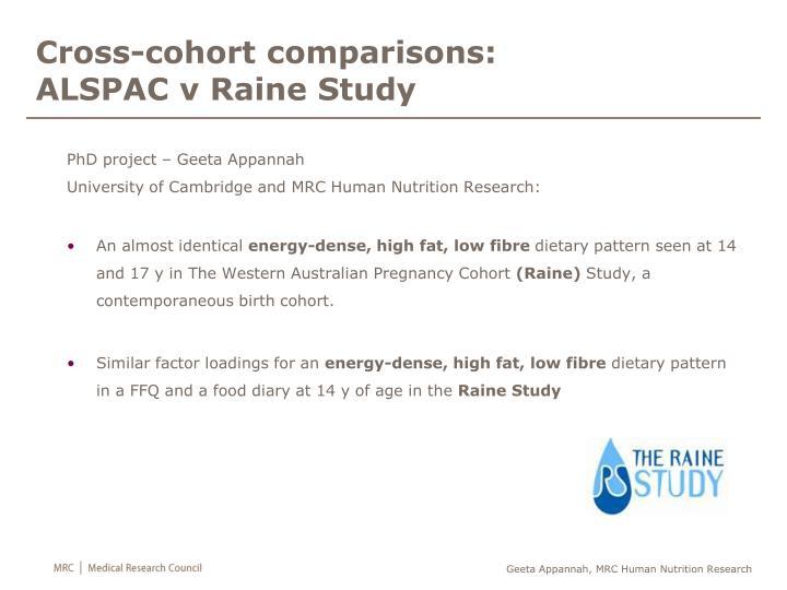 Cross-cohort comparisons: ALSPAC v
