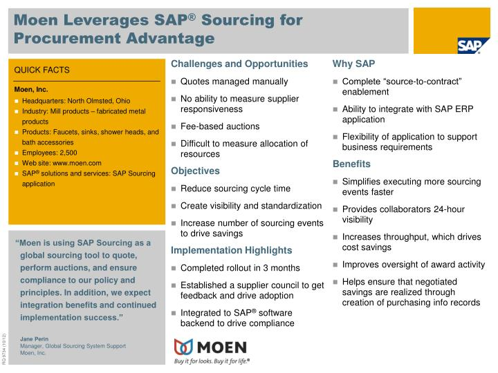Moen leverages sap sourcing for procurement advantage