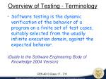 overview of testing terminology