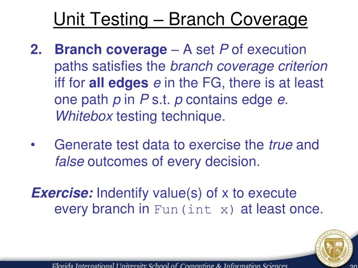 Unit Testing – Branch Coverage