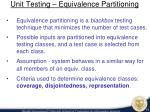 unit testing equivalence partitioning