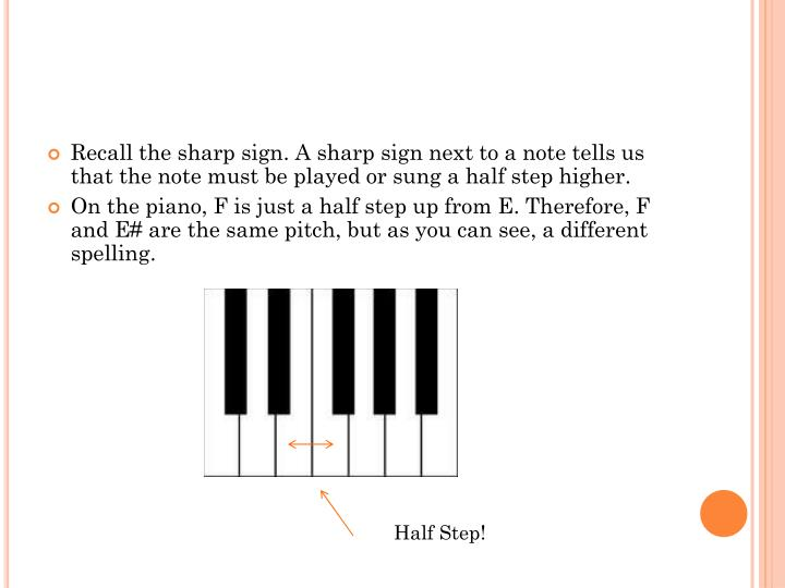 Recall the sharp sign. A sharp sign next to a note tells us that the note must be played or sung a half step higher.