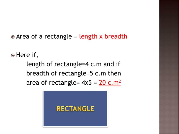 Area of a rectangle =