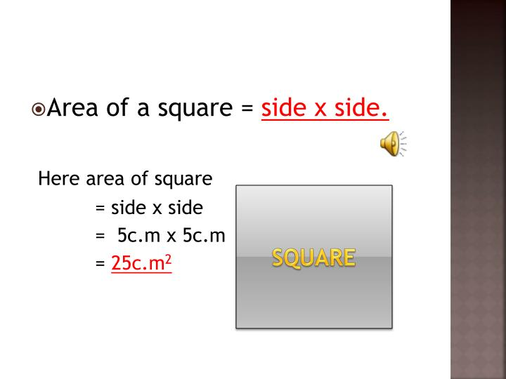 Area of a square =