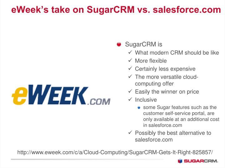 eWeek's take on SugarCRM vs. salesforce.com