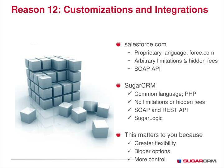 Reason 12: Customizations and Integrations