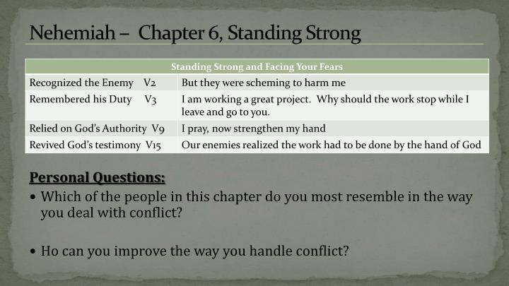 Nehemiah –  Chapter 6, Standing Strong