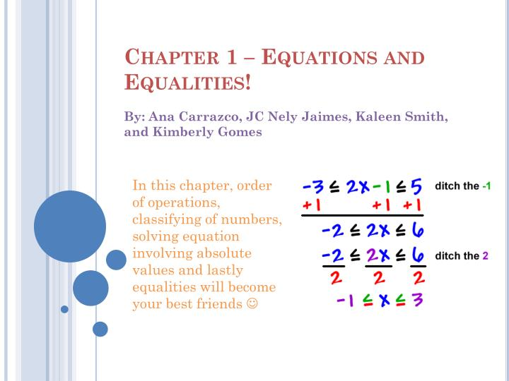 Chapter 1 equations and equalities