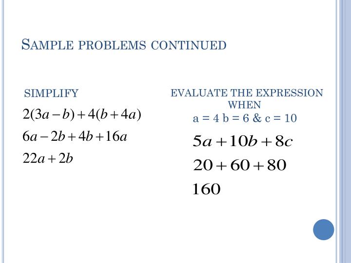 Sample problems continued