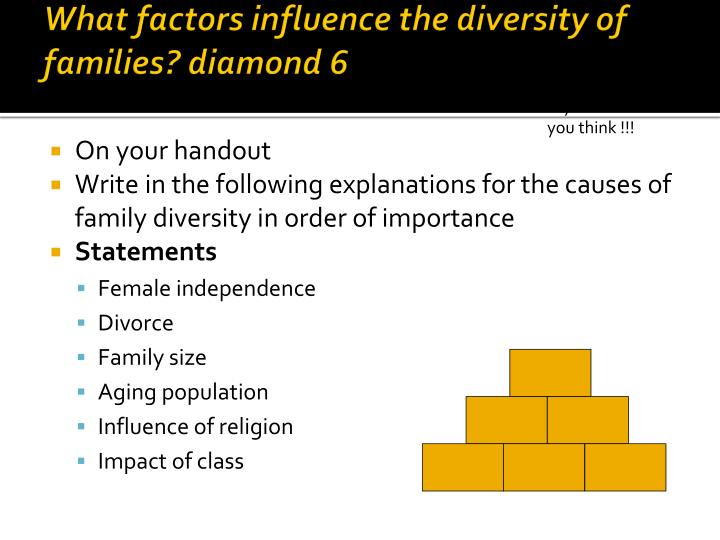 What factors influence the diversity of families? diamond 6