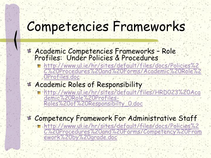 Competencies Frameworks