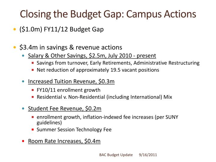 Closing the Budget Gap: Campus Actions