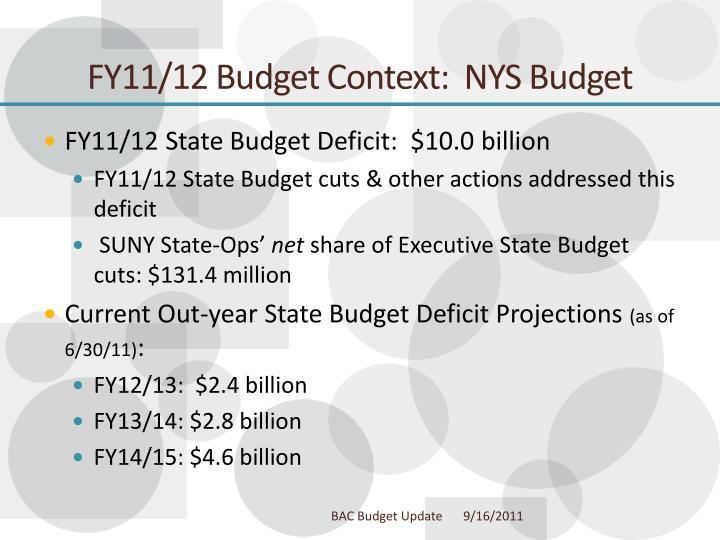 FY11/12 Budget Context:  NYS Budget