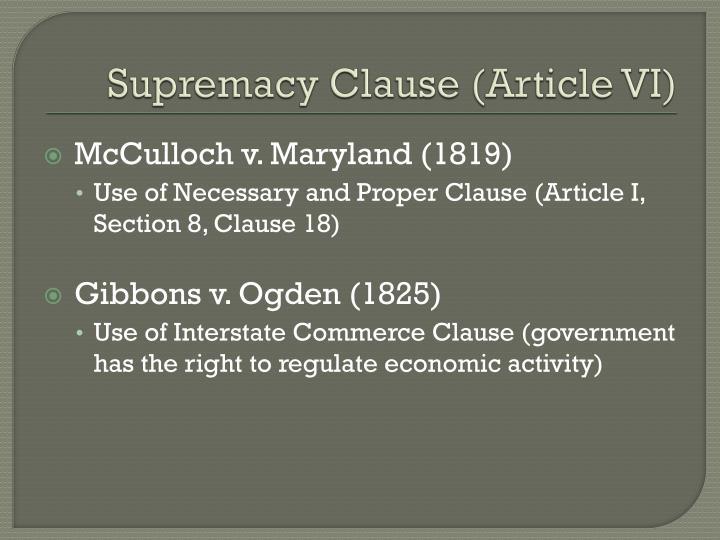 Supremacy Clause (Article VI)