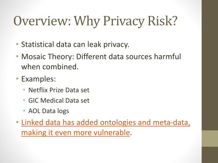 Overview: Why Privacy Risk?