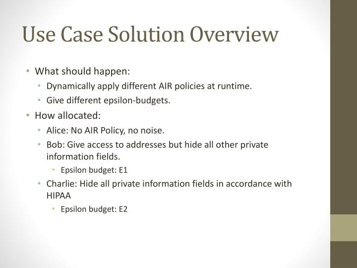 Use Case Solution Overview