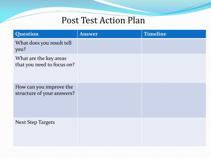 Post Test Action Plan