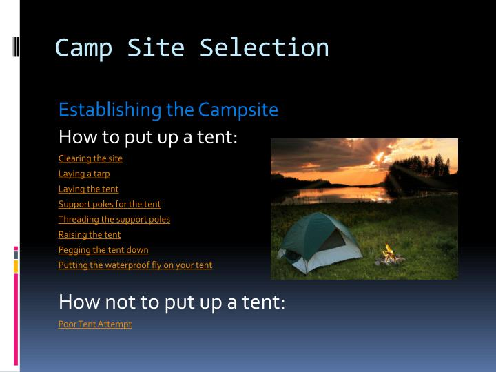 Camp Site Selection