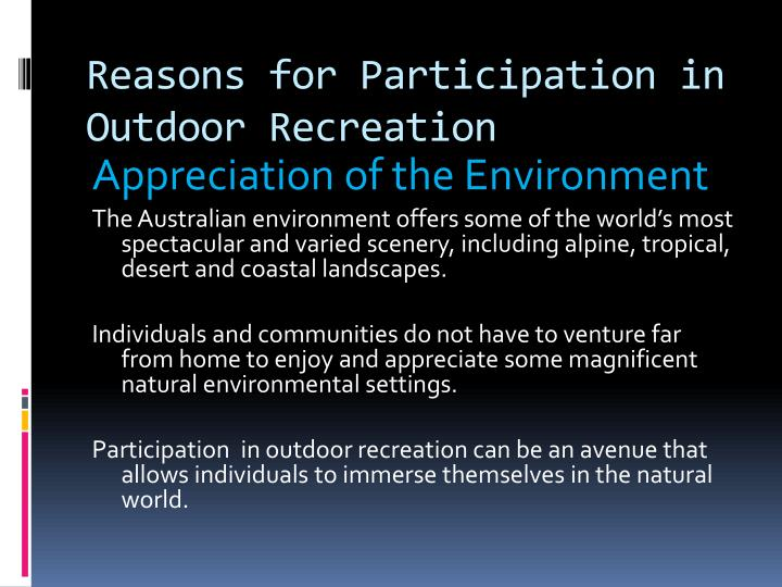 Reasons for Participation in Outdoor Recreation