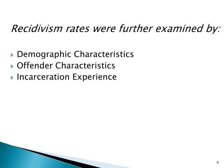 Recidivism rates were further examined by: