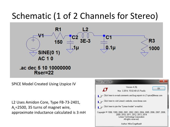 Schematic (1 of 2 Channels for Stereo)