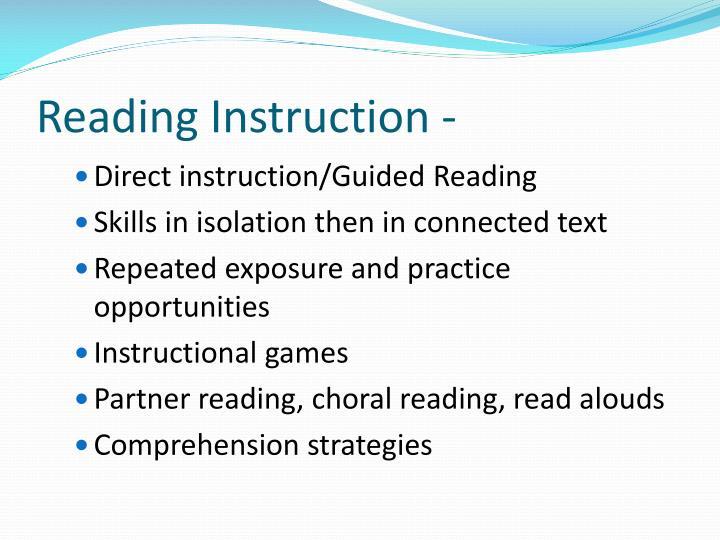 Reading Instruction -