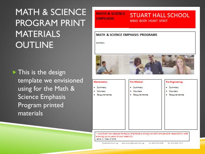 Math & Science program print materials outline