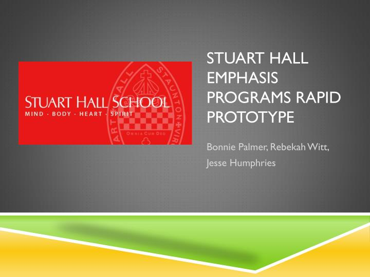 Stuart hall emphasis programs rapid prototype