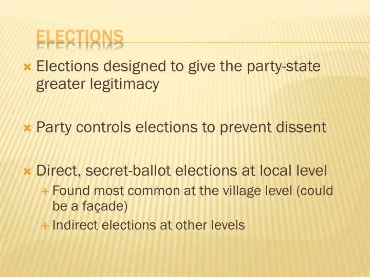 Elections designed to give the party-state greater legitimacy