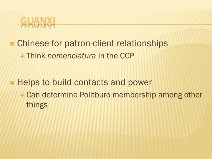 Chinese for patron-client relationships