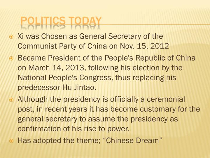 Xi was Chosen as General Secretary of the Communist Party of China on Nov. 15, 2012