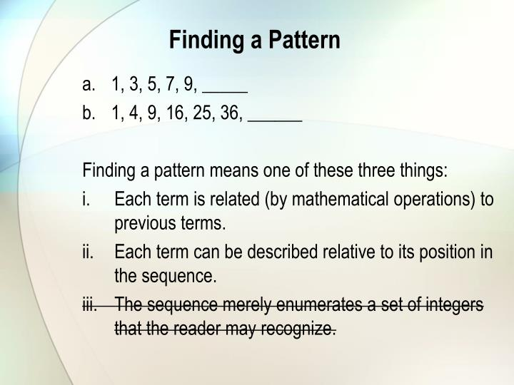 Finding a Pattern
