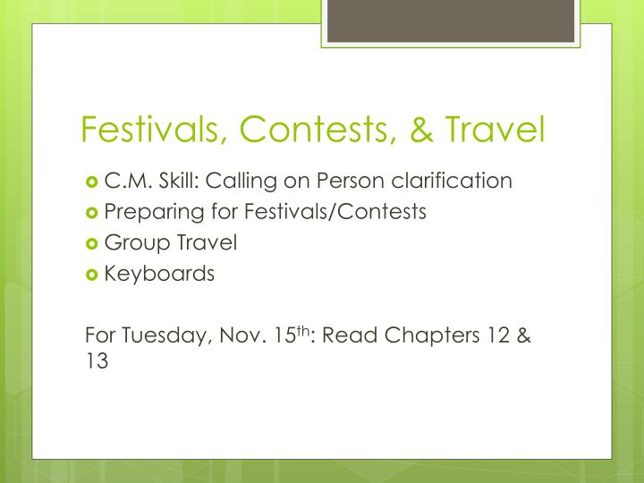 Festivals contests travel