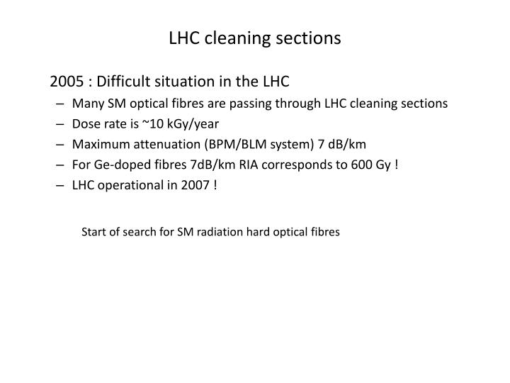 LHC cleaning sections