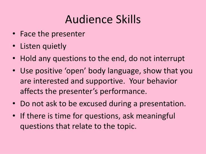 Audience Skills