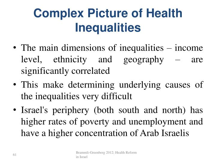 Complex Picture of Health Inequalities