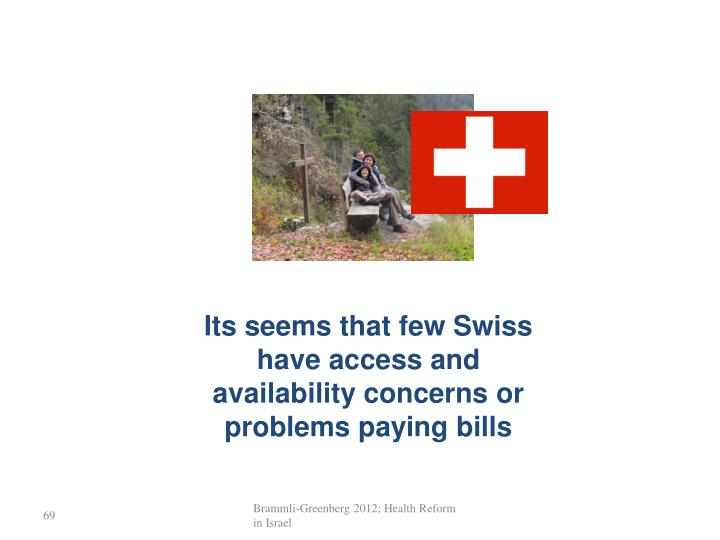 Its seems that few Swiss have access and availability concerns or problems paying bills