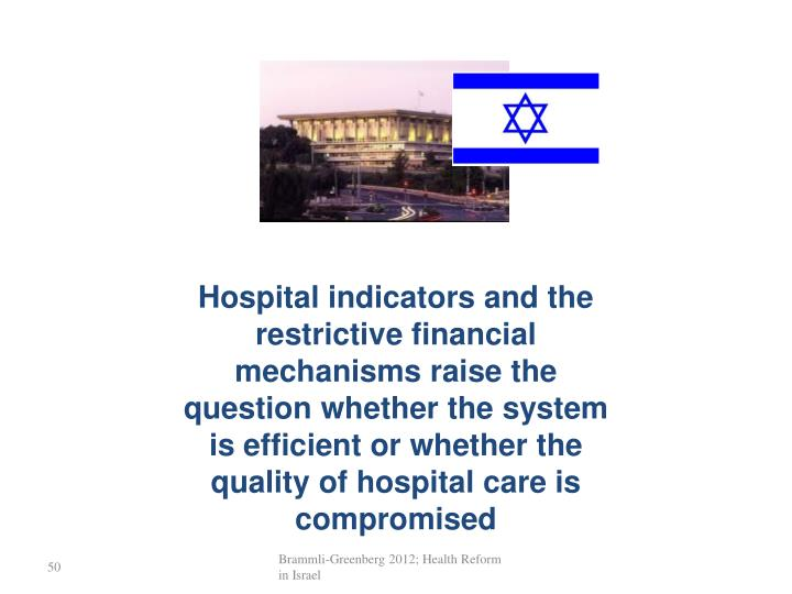 Hospital indicators and the  restrictive financial mechanisms raise