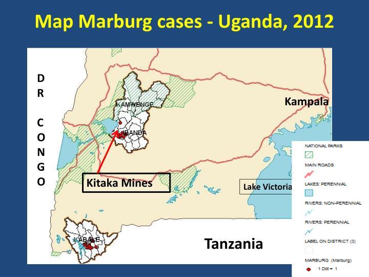 Map Marburg cases - Uganda, 2012