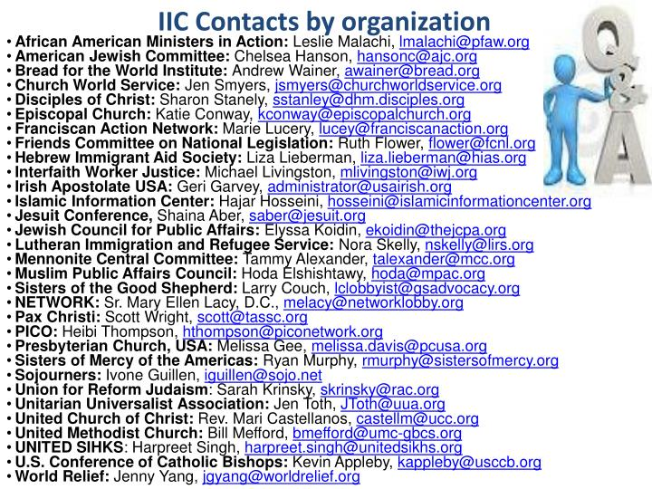 IIC Contacts by organization