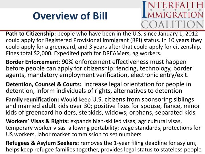 Overview of Bill