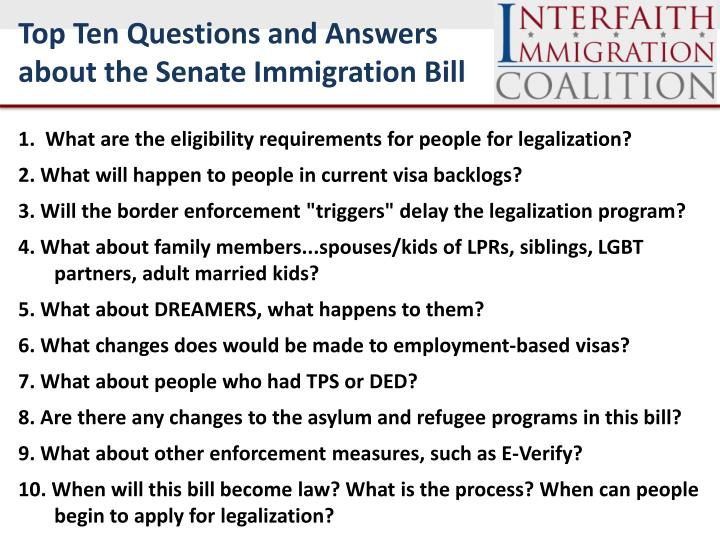 Top Ten Questions and Answers about the Senate Immigration Bill