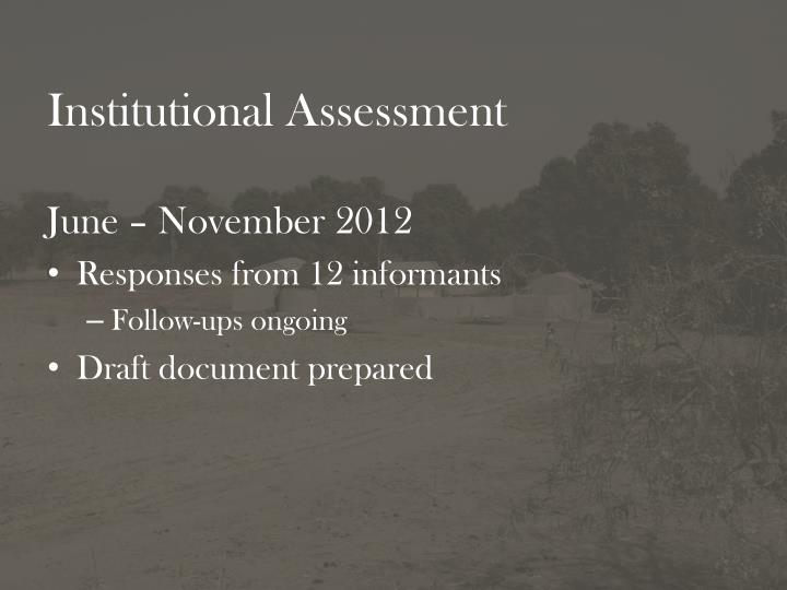 Institutional Assessment
