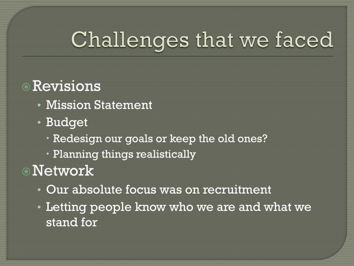 Challenges that we faced