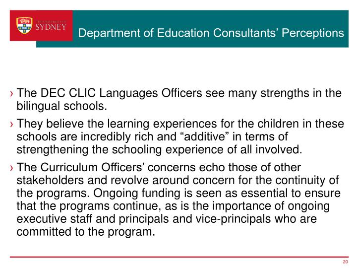 Department of Education Consultants' Perceptions