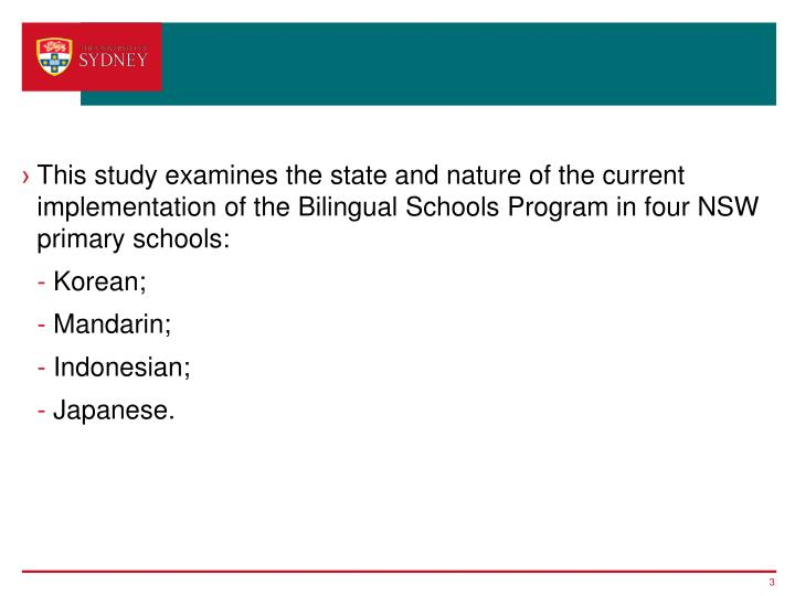 This study examines the state and nature of the current implementation of the Bilingual Schools Prog...